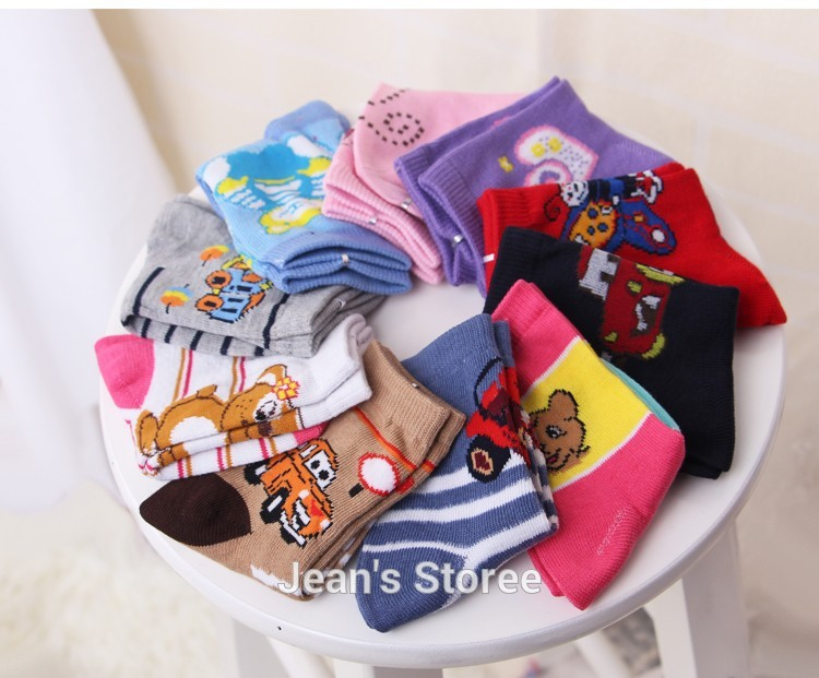 FUTE size 1 11 years old 20 pieces 10 pairs 1lot cartoon 100 cotton socks baby