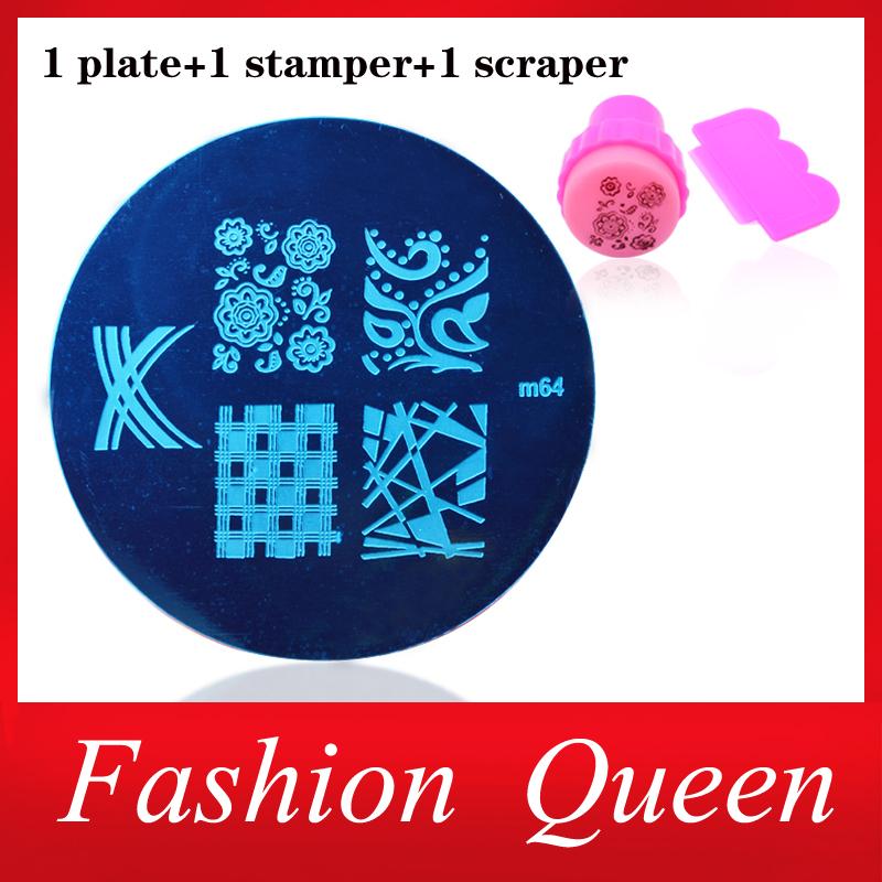 81Designs Optional Nail Art Plates Nail Template Stamper Scraper Kit DIY Polish Style Nail Stamp Stamping Manicure Tools(China (Mainland))