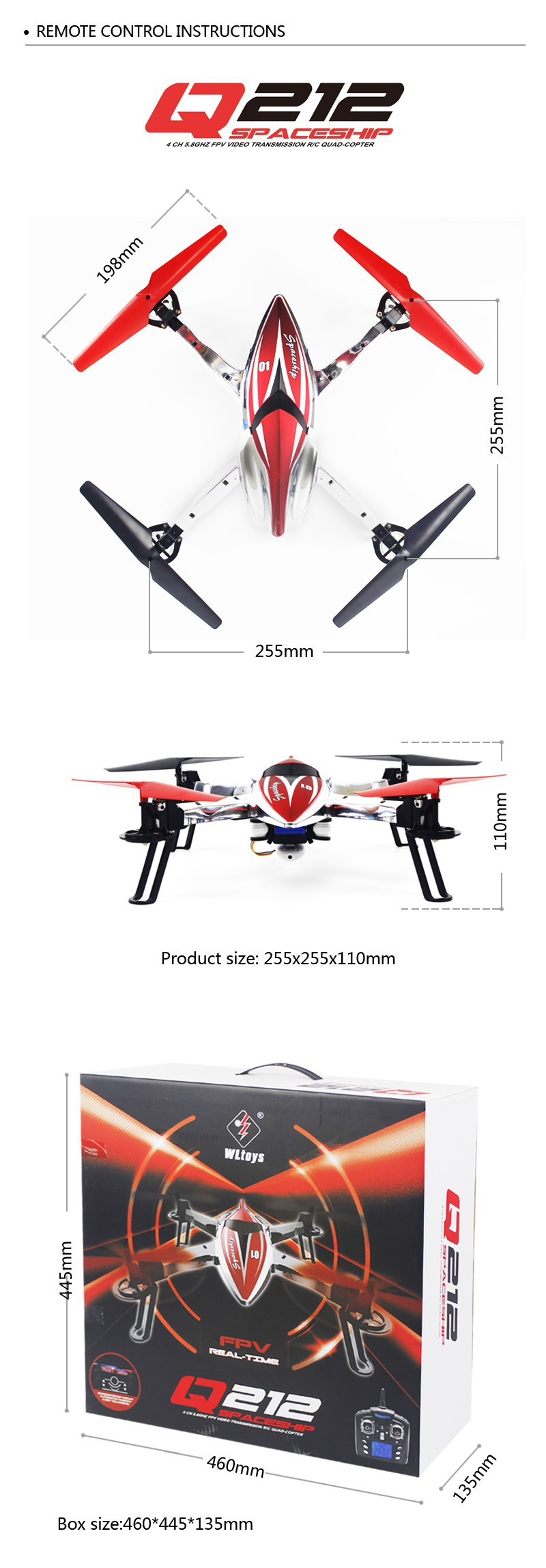 WLtoys Q212K WiFi FPV One-Key-return & Take Off Barometer Set High RC Quadcopter with HD Camera RTF VS Q212-K/Q242-K/Q282-K