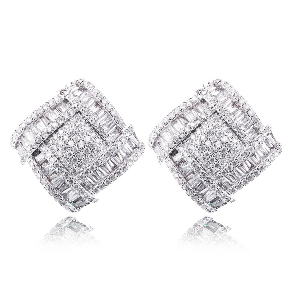 New Sale square earrings stud earring Women big earrings Cz Bridal Wedding Jewelry white gold plate new colletion(China (Mainland))