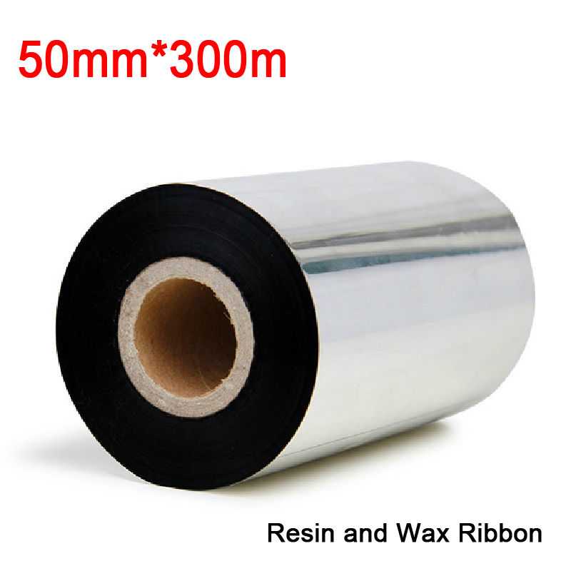 1.97 inch *984.5ft (50mm*300M) (2pcs/lot) resin and wax ribbon with 25.4mm core compatible with godex, TSC, Gprinter etc<br><br>Aliexpress