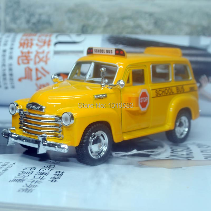 (10pcs/pack) Wholesale Brand New KINGSMART 1/36 Scale Car Toys Chevrolet School Bus Diecast Metal Pull Back Car Toy(China (Mainland))