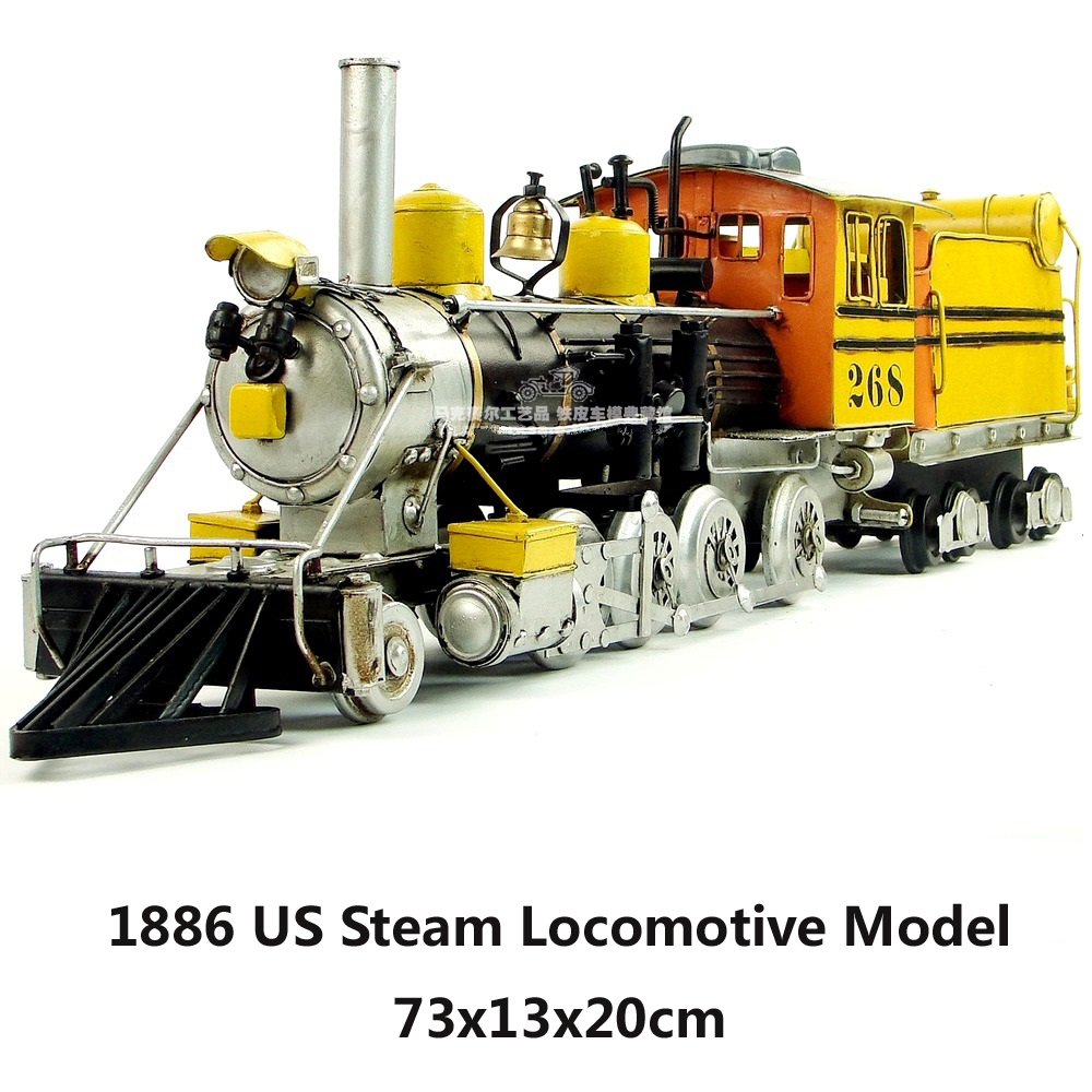 1886 US Steam Locomotive Model 2 Colors Red Yellow handmade vintage metal train model home office bar decoration gift(China (Mainland))