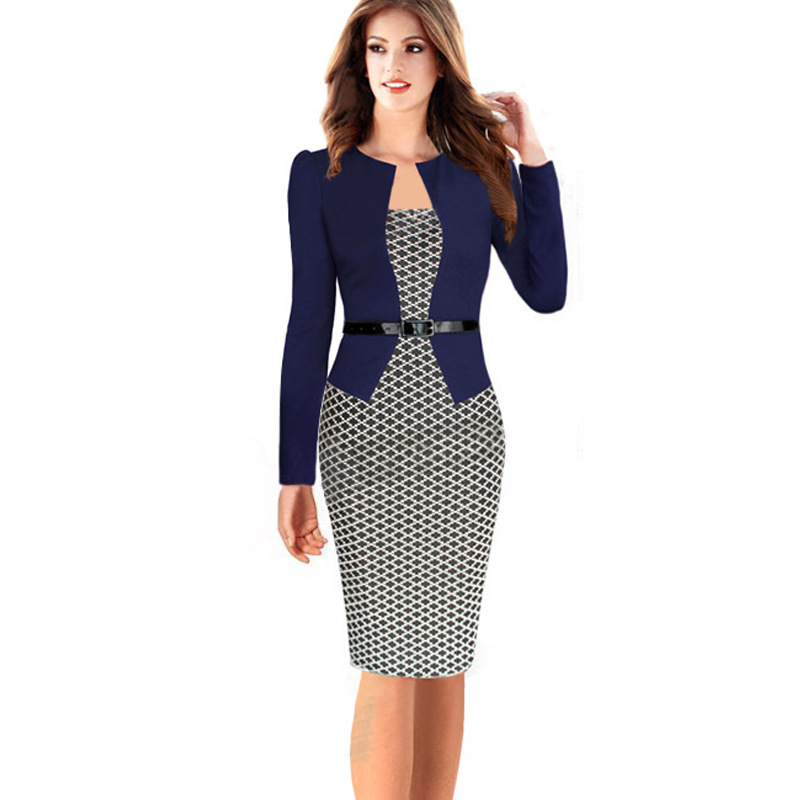 Adogirl Women Elegant Faux Twinset Patchwork Belted Long Sleeve Business Office Dress Stretch Plus Size Bodycon Pencil Dresses(China (Mainland))