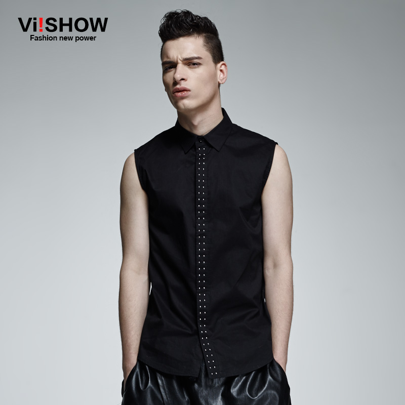 Viishow Black Turn-Down Sleeveless Cotton Male Summer Style Slim Fit Tank Top Men Bodybuilding Vest Basketball Tank Gym Shirts(China (Mainland))