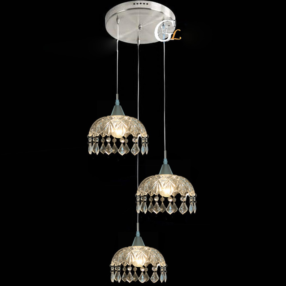 Modern clear glass crystal hanging cloakroom pendant light for Dining room pendant lights