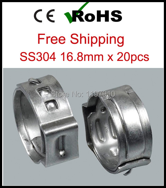 16.8mm x 20pcs SS304 One Ear Stepless Hose Clamps 304 Stainless Steel Pipe Clips<br><br>Aliexpress