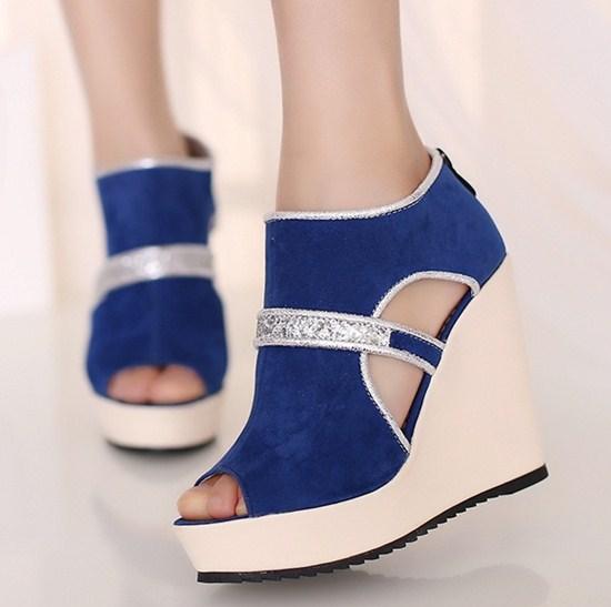 Sapato de Salto feminine elegant color matching women's pumps spring design red shoes high heels slope black green blue platform(China (Mainland))
