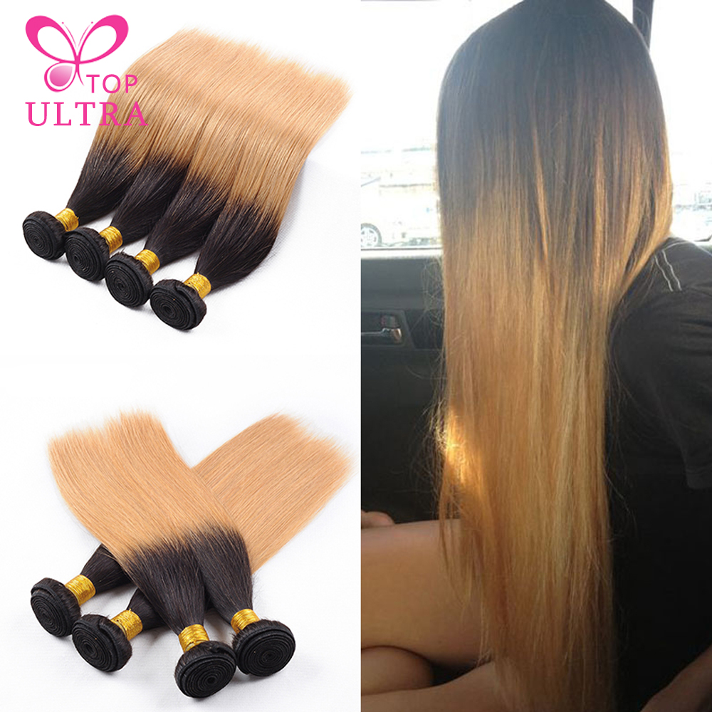 7A Ali Queen Hair Products Indian Two Tone Hair Straight Weave 4Pcs/Lot T1B/27 Orange Star Ombre Hair Extension Free Shipping(China (Mainland))