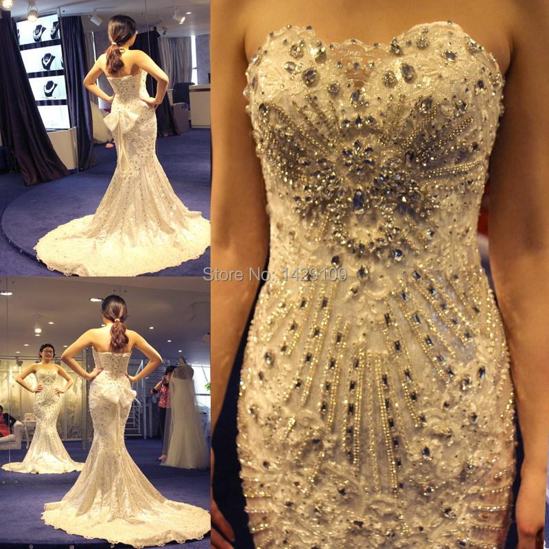 Trailing Wedding Dresses 2015 Ultra Luxury Flash Crystal
