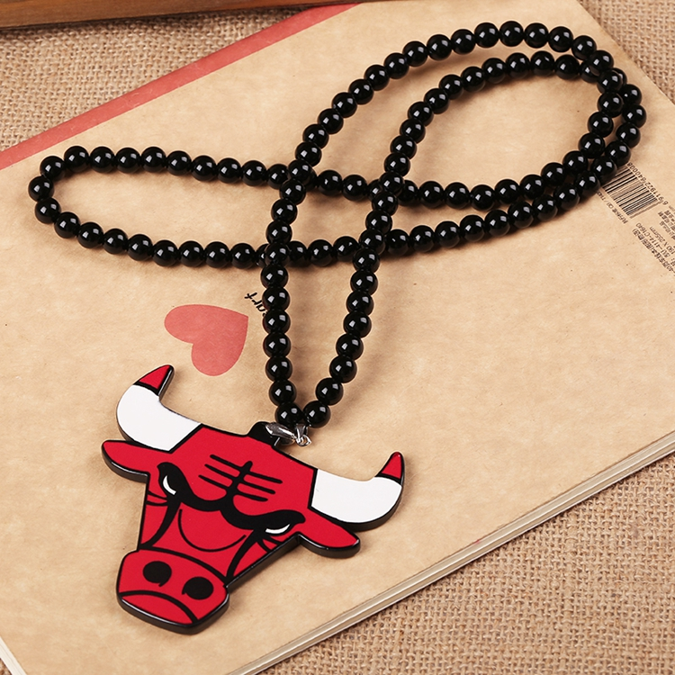 Bulls Pendant Acrylic Good Wood NYC Hip-Hop Necklace Red(China (Mainland))