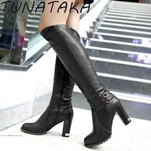 Buy Womens Winter Inside Fur Knee High Heel Boots Fashion Top Zipper Warm Snow Boots Shoes Female 2016 Black Brown Apricot for $27.59 in AliExpress store