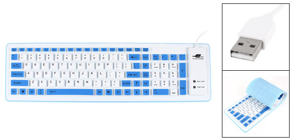 White Blue 103 Keys Roll up Silicone USB 2.0 Flexible Keyboard for PC Laptop(China (Mainland))