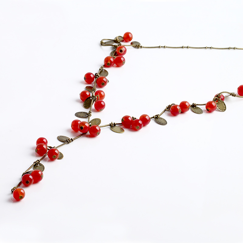 2016 New Korea girl love pendant jewelry kolye angel necklaces & pendants Beautiful Red cherries cute Necklace for women N116(China (Mainland))