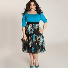 Plus Size Women Dresses Casual Style Summer Regular Half Sleeve Empire Fashion Patchwork Slim Dress