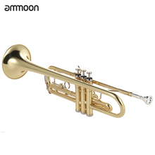 ammoon Exquisite Bb B Flat Trumpet Brass Gold-painted Durable Musical Instrument with Mouthpiece Valve Oil Gloves Strap Case(China (Mainland))