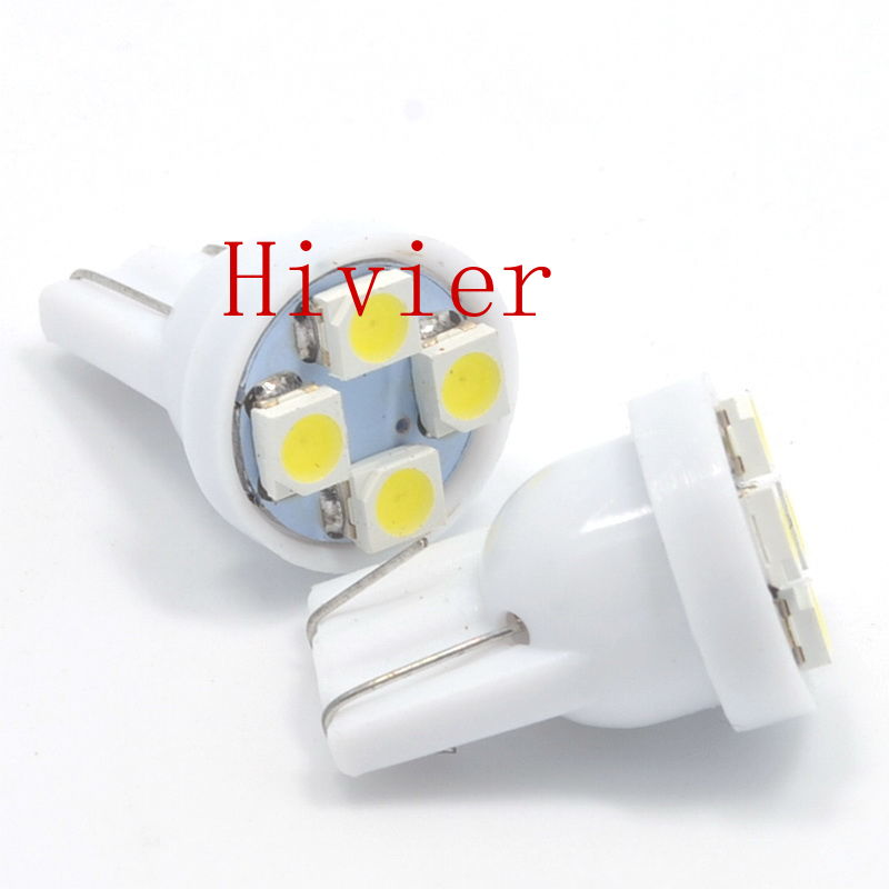 Wholesale External Lights White Red Blue 100x T10 3528 1210 4smd 4 Smd Wedge Tail Car Light Bulbs 4led 194 168 W5w DC12v New(China (Mainland))