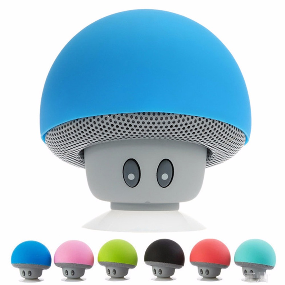 Wireless Bluetooth Mini Speaker Cute Mushroom Silicone Suction Cup Portable MP3 Music Player for iPad iPhone 4S 5S 6S Laptop 1PC(China (Mainland))