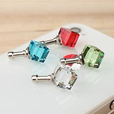 HOT Fashion Water Cube Crystal Rhinestone dust plug Earphone headphones Jack phone iphone accessories - Electronic-Home trade co., LTD store