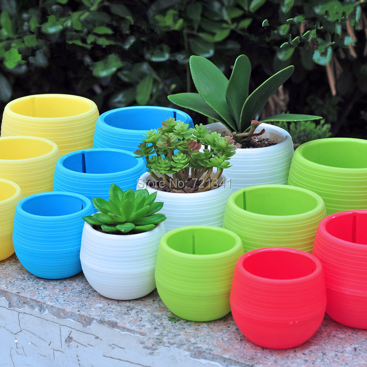 10pcs Colorful Plastic Plant Pots Water Storage Lazy