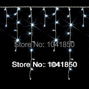 Fedex free shipping 3.5m 96 LED Ice Christmas Holiday Light Wedding Party garden Clear Bulb Snowing curtain light(China (Mainland))
