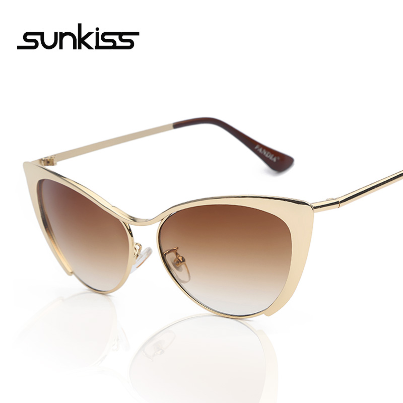 Luxury Metal Cateye Sunglasses Women Famous Brand Designer Sunglasses China High Quality Points Style Eyeglasses Ouclos De Sol(China (Mainland))