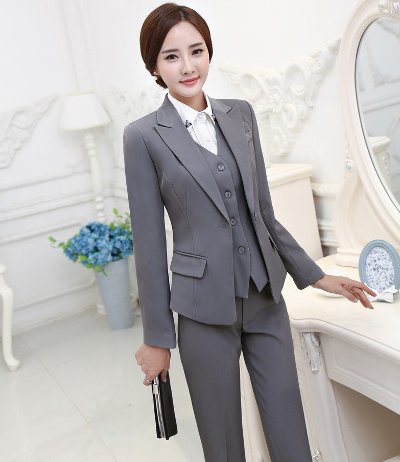 Popular Vest  Pants Women Blazers Ladies Office Trouser Set Pantsuitsin Pant