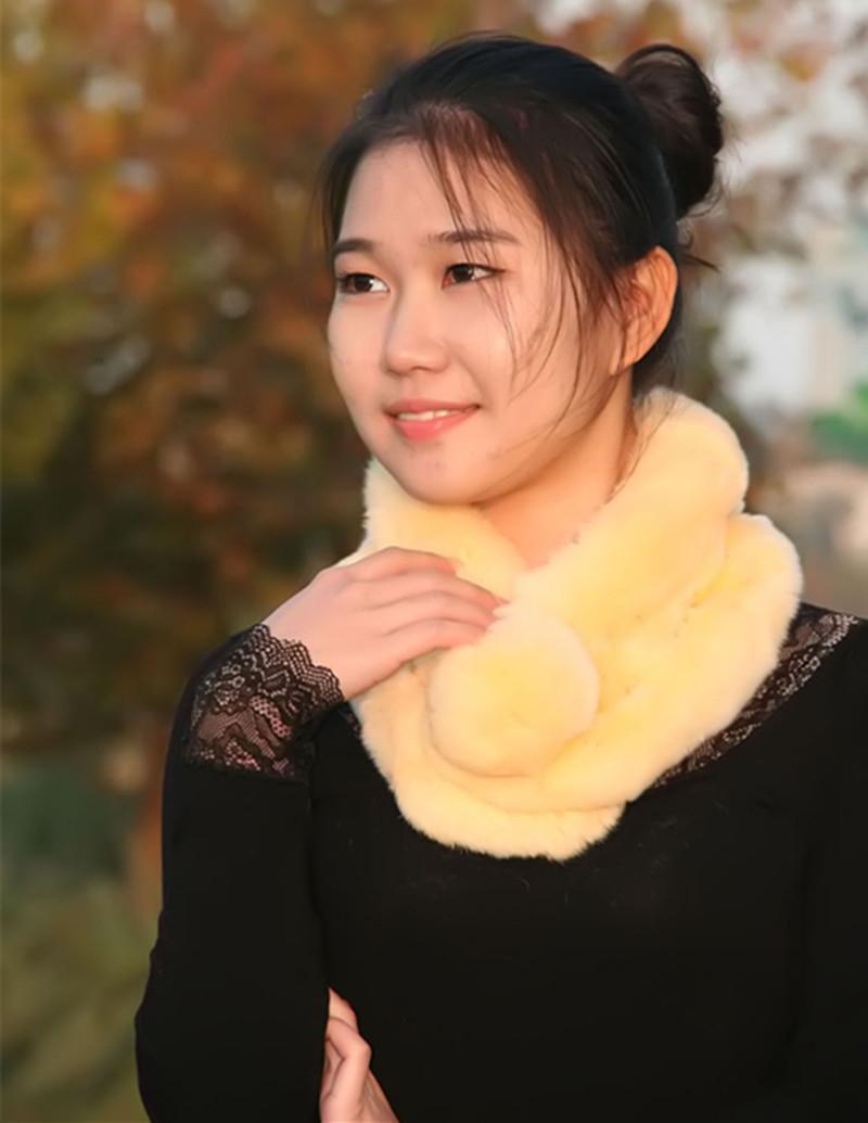 Rex rabbit fur scarf with ball 2016 winter women's fashion wholesale tie scarf