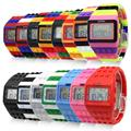 1pc Rubber Multicolor Rainbow Band Block Digital LED Date Day Unisex Sport Watch Hot
