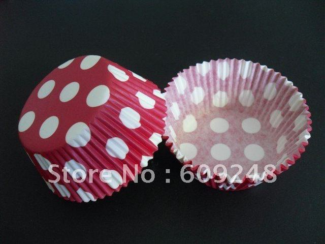 Free Shipping Wholesale White Big Polka Dot Standard Red Paper Cupcake Liners,Paper Muffin Cups,Wedding,1000pcs/lot
