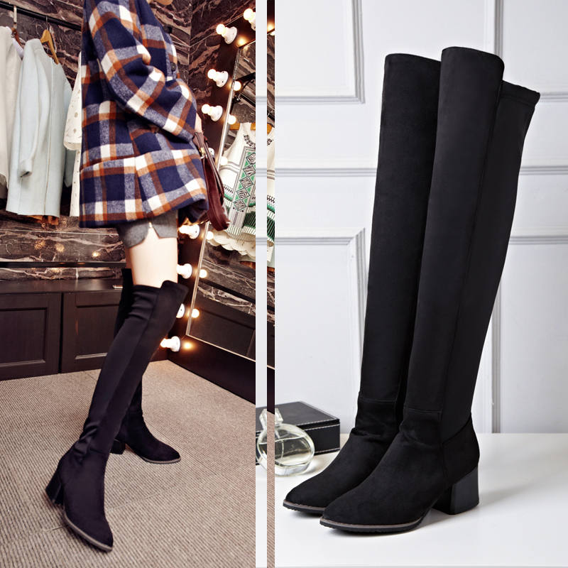 2016 New Arrive martin boots Nubuck Leather women autumn winter fashion knee High Boots Comfortable snow long boots Pointed Toe(China (Mainland))