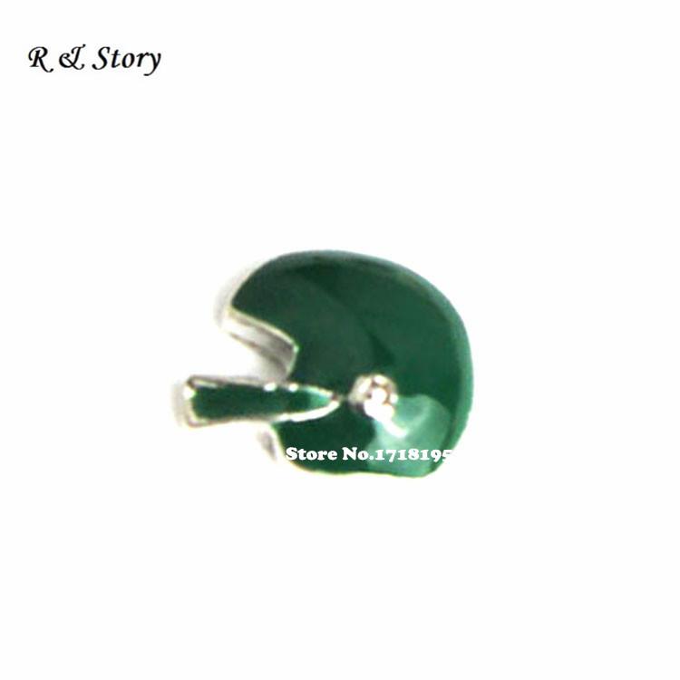 GREEN FOOTBALL HELMET Floating Charms for Memory Lockets LFC_1638(China (Mainland))