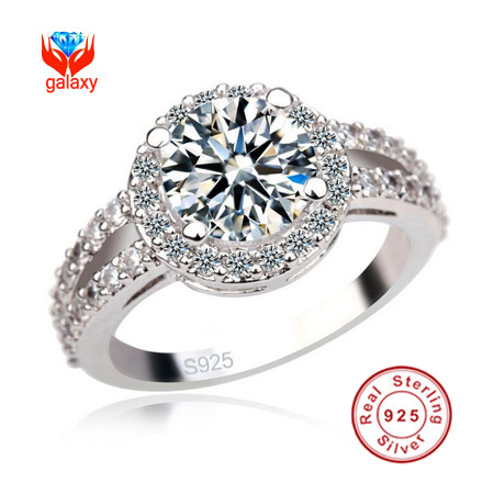 Luxury 925 Silver Engagement Ring New Trendy Jewelry 3 Carat Simulated Diamond Wedding Rings For Women Size 4 5 6 7 8 9 10 YH520(China (Mainland))