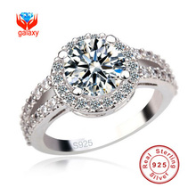Princess Luxury 3 Carat 925 Silver Engagement Ring New Trendy Fine Jewelry Simulated Diamond Wedding Rings For Women J2905