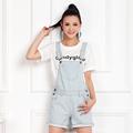Womens jumpsuit denim overalls summer denim piece pants for girls jeans shorts with front big pocket