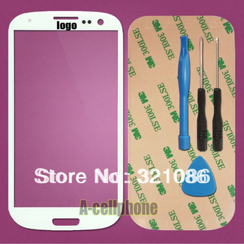 White top Glass screen FOR Samsung Galaxy S3 i9300 i9305 i535 i9308 i747 T999 Lcd lens (no digitizer touch) +adhesives
