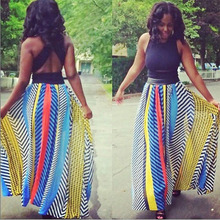 womens long skirts 2016 summer style casual striped print chiffon maxi skirt high waisted adult tutu skirt plus size