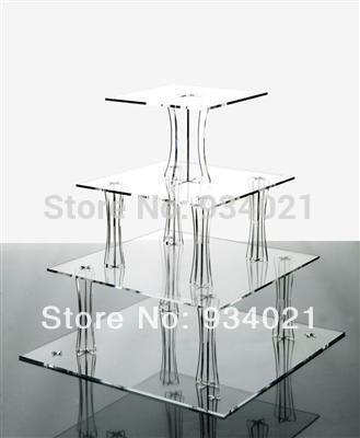 Square 4 Tier Acrylic Wedding Cakes Display, Plexiglass Cake Rack Display(China (Mainland))