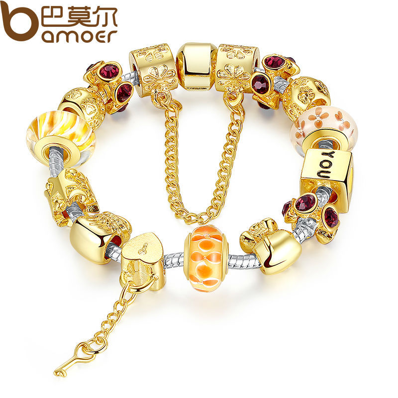 Bamoer Gold Color Charm Bracelet &amp; Bangle With Exquisite Glass Beads Pulseras Mujer Birthday Gift Luxury Bijoux PA1830<br><br>Aliexpress