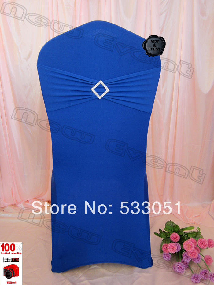 210g/m2 Royal Blue Spandex Chair Cover With Lycra Bands And Rhombic Diamond Bucke For Wedding Decoration & Party(China (Mainland))