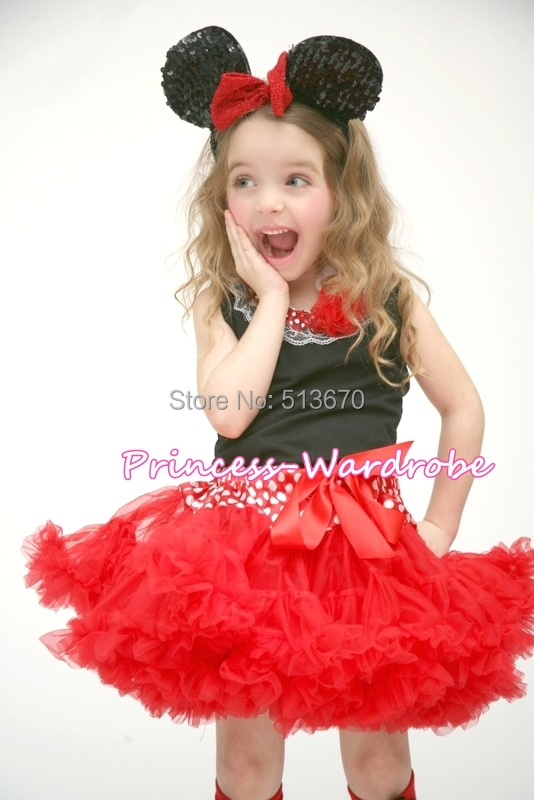 Minnie Waist Red Pettiskirt Black Pettitop Top in White Red Dots Lacing Set 1-8Y MAPSA522(Hong Kong)