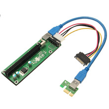 USB 3.0 PCI-E Express 1x to16x Extender Riser Board Card Adapter WIth SATA15Pin-4Pin Power Cable(China (Mainland))