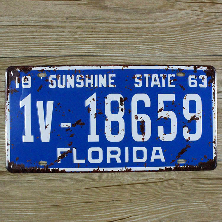 "XDCP-140 Vintage license plate ""FLORIDA 1v-18659 BLUE""Metal signs home decor Office Restaurant Bar Metal Painting art 15x30CM(China (Mainland))"