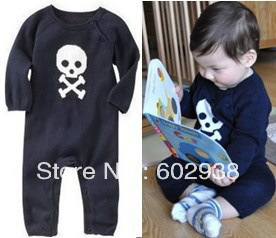 NEW baby boy jumper Skeleton jumpers long sleeve romper boy black