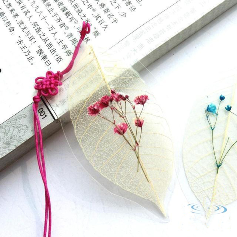 2 Pieces A Lot Creative Graduation Gift Star Flower With Branch Specimen Veins Pressed Bookmark Unique Anticorrosive Waterproof(China (Mainland))