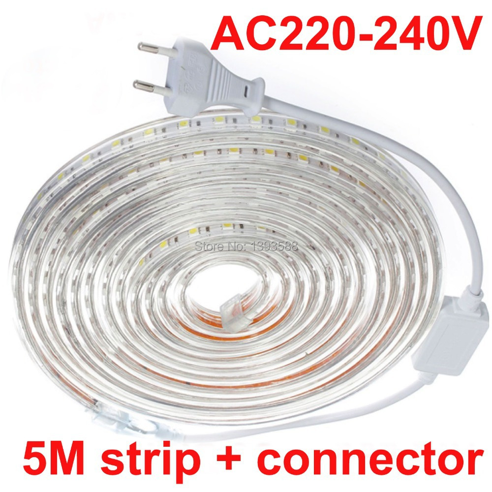 5M/set Waterproof Daylight 220V 5050 SMD 60 LED Flexible Strip Light 14.4W/M ,warm white/Cool white,60leds/m waterproof(China (Mainland))