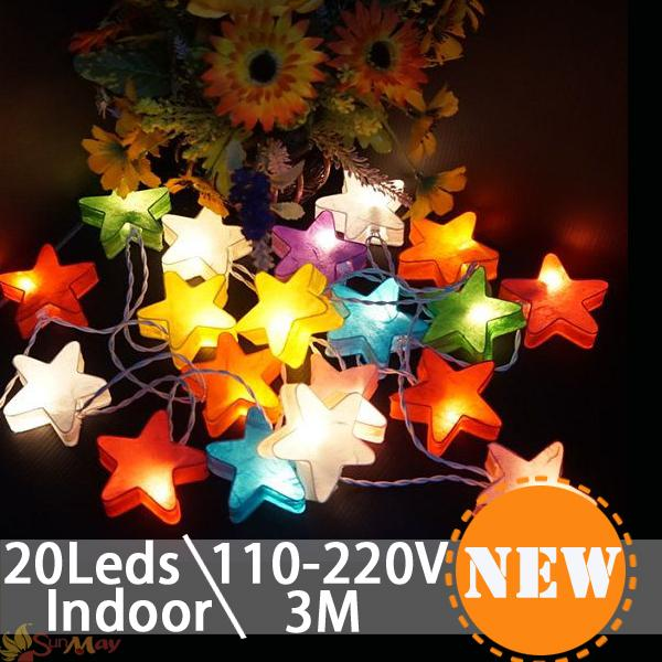Cartoon Design Star Shape 3M 20 Led string Lights Christmas fairy light for Indoor patio party decoration led falling star light(China (Mainland))
