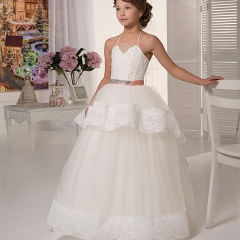 Floor Length Ball Gown Beautiful Girls Pageant Dresses Halter Appliques Sashes First Communion 2015 Discount Flower Girl Dresses(China (Mainland))