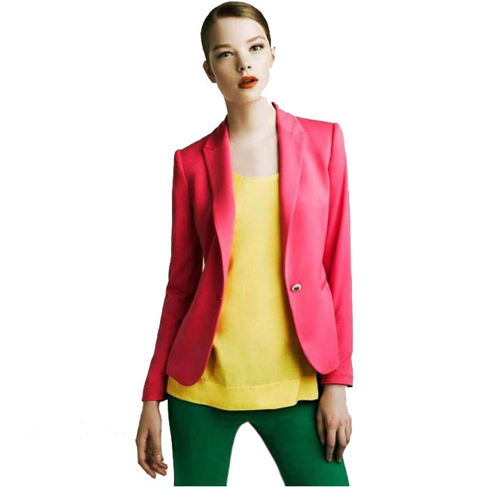 New Tops Fashion Womens Suit Tunic Foldable sleeve candy Color lined striped Jacket shawl cardigan Coat one button(China (Mainland))