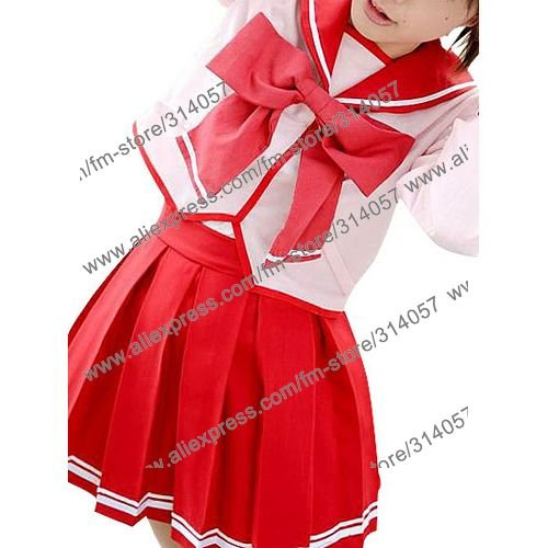 Freeshipping-anime products Red Long Sleeves Bow School Uniform Cosplay Costume(China (Mainland))